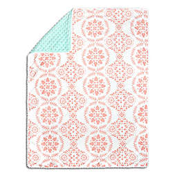 The Peanutshell™  Medallion Pom Pom Blanket in Coral/Mint