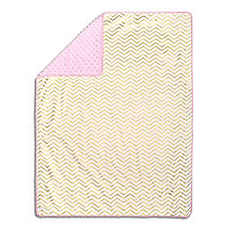 The Peanutshell™  Chevron Pom Pom Blanket in Gold/Pink