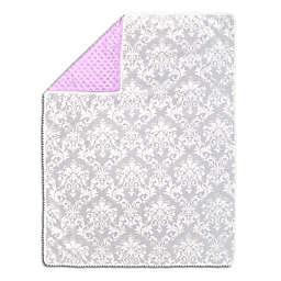 The Peanutshell™  Damask Pom Pom Blanket in Grey/Purple