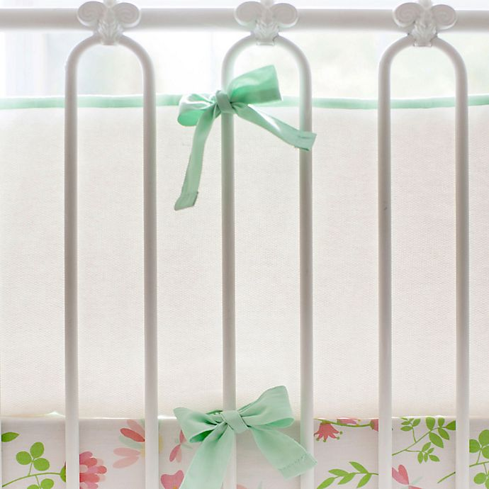 Alternate image 1 for My Baby Sam Cotton Pique 4-Piece Crib Bumper in White/Mint