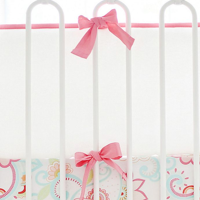 Alternate image 1 for My Baby Sam Cotton Pique 4-Piece Crib Bumper in White/Coral