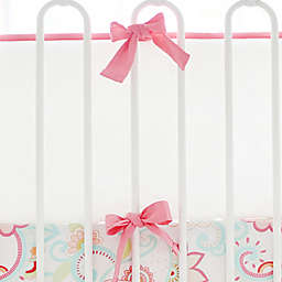 My Baby Sam Cotton Pique 4-Piece Crib Bumper in White/Coral