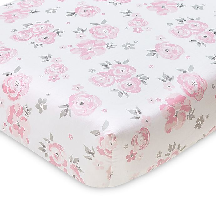 Alternate image 1 for Wendy Bellissimo™ Mix & Match Savannah Watercolor Floral Fitted Crib Sheet in Pink