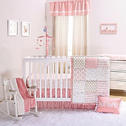 The Peanutshell™ Sweet Swan 4-Piece Crib Bedding Set in Light Coral