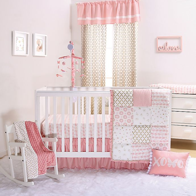 Alternate image 1 for The Peanutshell™ Sweet Swan 4-Piece Crib Bedding Set in Light Coral