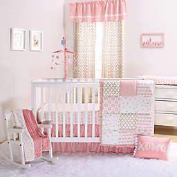 The Peanutshell™ Sweet Swan 4-Piece Crib Bedding Set in Light Coral