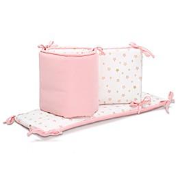 The Peanutshell™ Sweet Swan Reversible Crib Bumper Light Coral/Gold