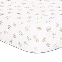 The Peanutshell™ Butterfly Fitted Crib Sheet in White/Gold