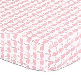 The Peanutshell™ Swan Fitted Crib Sheet in Light Coral