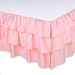 The Peanutshell™ Sweet Swan Ruffled Crib Skirt in Light Coral