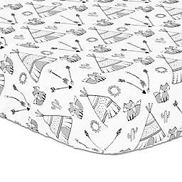 The Peanutshell™ Southwest Fitted Crib Sheet in Black/White