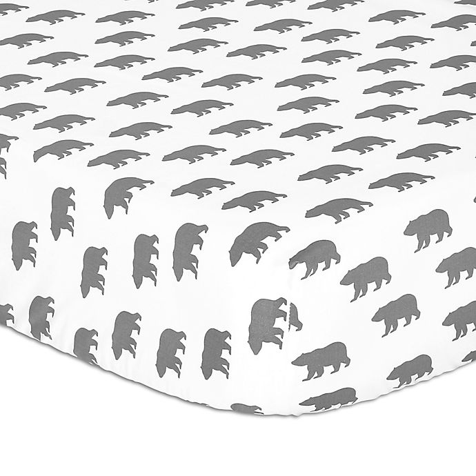 Alternate image 1 for The Peanutshell™ Bear Fitted Crib Sheet in Grey
