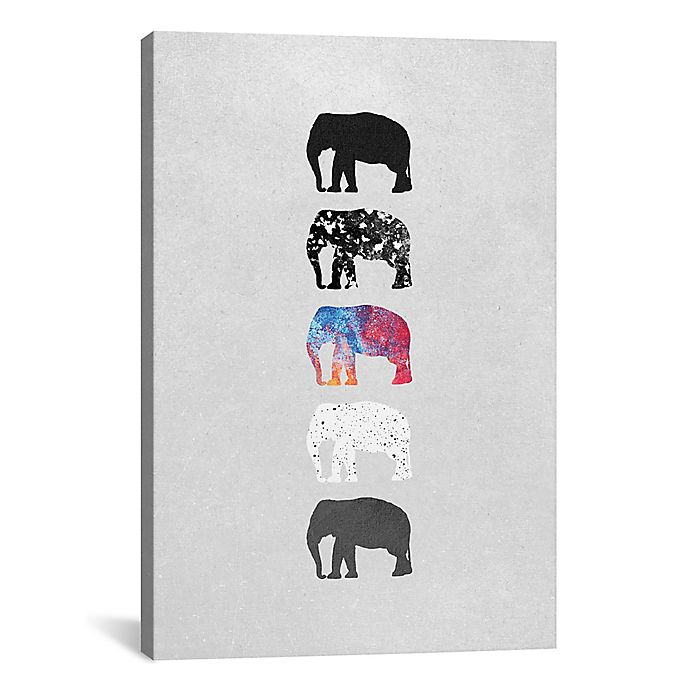 Alternate image 1 for iCanvas Five Elephants 12-Inch x 18-Inch Canvas Wall Art