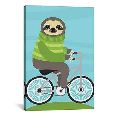 iCanvas Cycling Sloth Canvas Wall Art
