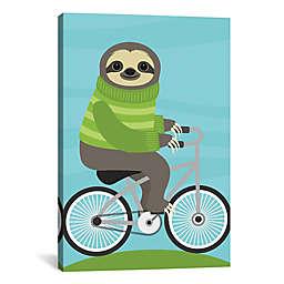 iCanvas Cycling Sloth Canvas Wall Art