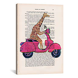 iCanvas Giraffe on Motorbike Canvas Wall Art