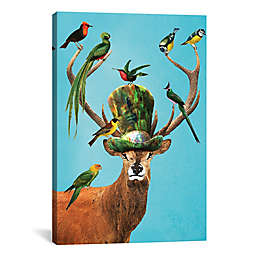 iCanvas Deer with Birds Canvas Wall Art