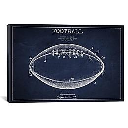 iCanvas Football Blueprint Canvas Wall Art in Navy