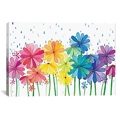 iCanvas Rain Rainbow Canvas Wall Art