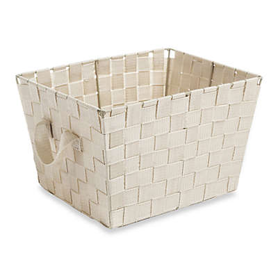 Small Woven Storage Tote in Cream