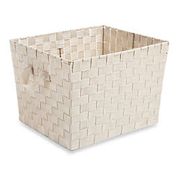Large Woven Storage Tote in Cream