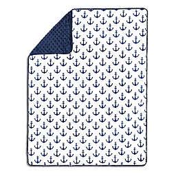 The Peanutshell™  Anchor Pom Pom Blanket in Navy