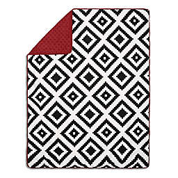 The Peanut Shell® Tile Pom Pom Blanket in Black/Red
