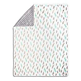 The Peanutshell™ Feather Pom Pom Blanket in Mint/Grey