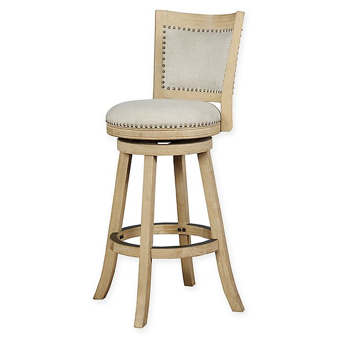 Alternate image 1 for Linon Home Sydnee Swivel Bar Stool in Natural with Washed Finish