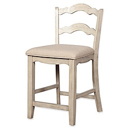 Linon Home May Stool with Whitewashed Finish