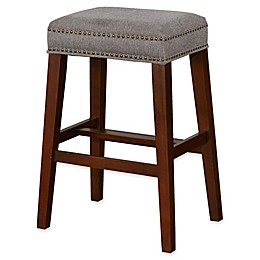 Linon Home Walt Stool in Grey/Walnut