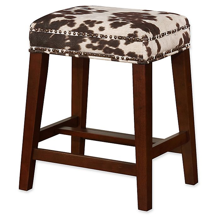 Alternate image 1 for Linon Home Walt Cow Print Counter Stool in Brown