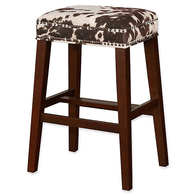 Alternate image 1 for Linon Home Walt Cow Print Bar Stool in Brown