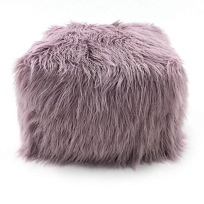 Lounge Co Faux Fur Pouf Ottoman