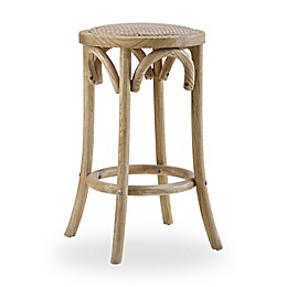Linon Home Rae Rattan Backless Stool