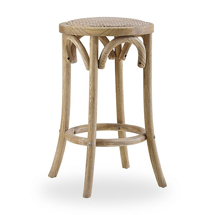 Alternate image 1 for Linon Home Rae Rattan Backless Counter Stool in Brown