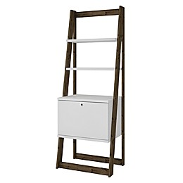 Manhattan Comfort Salvador Ladder Bookcase in White/Oak