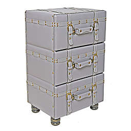 River Of Goods Three-Drawer Faux Leather Trunk Cabinet