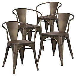 Poly And Bark Trattoria Arm Chairs in Elmwood (Set of 4)