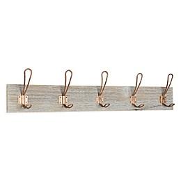 Kate And Laurel Skara Wood 5-Hook Wall Coat Rack in Rose Gold