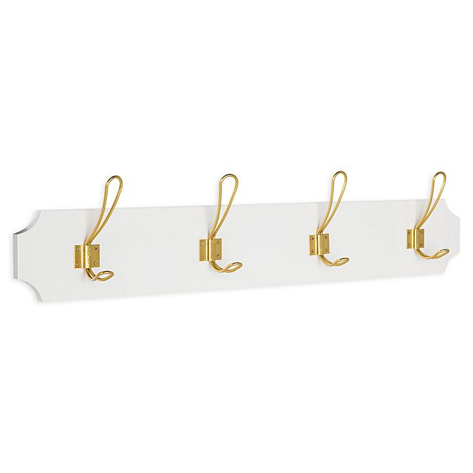 Alternate image 1 for Kate And Laurel Skara Wood4 Hook Wall Coat Rack in Gold
