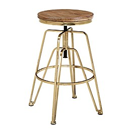Linon Home Wood and Metal Adjustable Stool