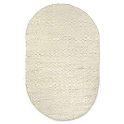nuLOOM Round Chunky Woolen Cable 5-Foot x 8-Foot Area Rug in White