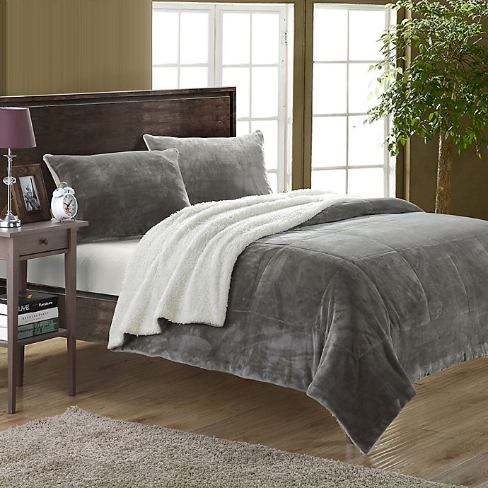Alternate image 1 for Chic Home Evelyn Twin XL 2-Piece Sherpa-Lined Blanket Set in Grey