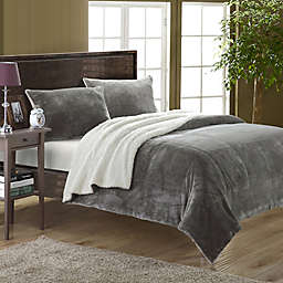 Chic Home Evelyn Twin XL 2-Piece Sherpa-Lined Blanket Set in Grey