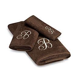 Avanti Premier Ivory Script Monogram Fingertip Towels in Mocha