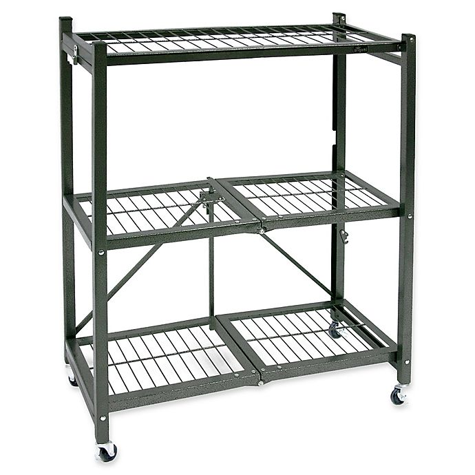 Alternate image 1 for Origami 3-Shelf Foldable Wheeled Storage Rack in Pewter