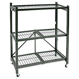 Origami 3-Shelf Foldable Wheeled Storage Rack in Pewter