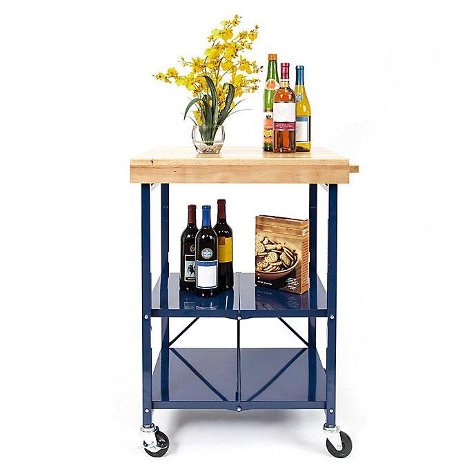 Origami 2 Shelf Foldable Wheeled Kitchen Cart Bed Bath