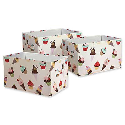 Lush Décor Cupcake Ice Cream Collapsible Storage Box (Set of 3)